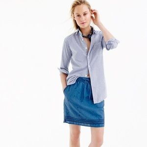 J. Crew Trademark Chambray Embroidered Mini Skirt